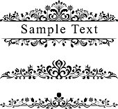 Ornate floral dividers and letterheads, single colour black with copy space.