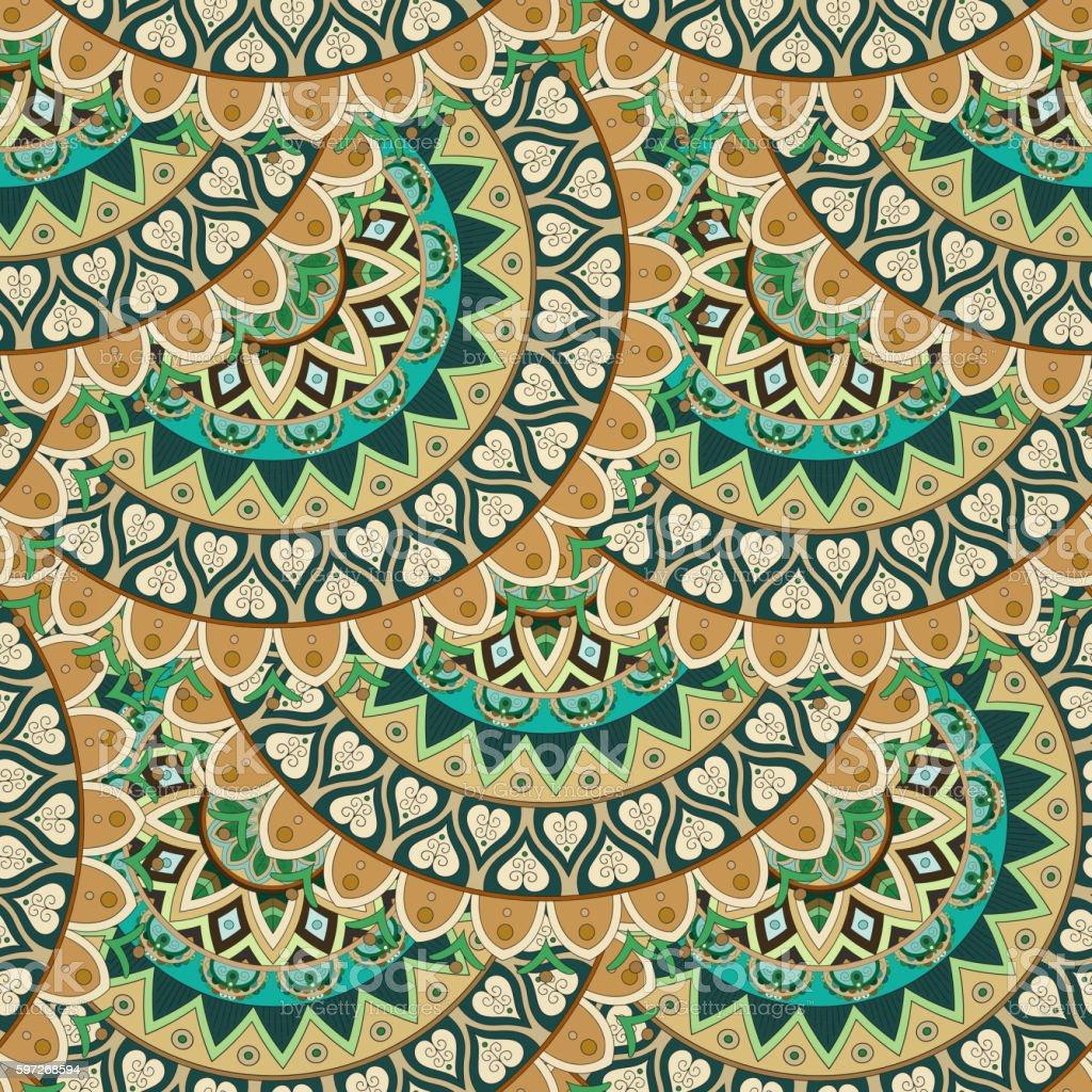 Ornate floral seamless texture, endless pattern with vintage mandala elements. ornate floral seamless texture endless pattern with vintage mandala elements – cliparts vectoriels et plus d'images de abstrait libre de droits