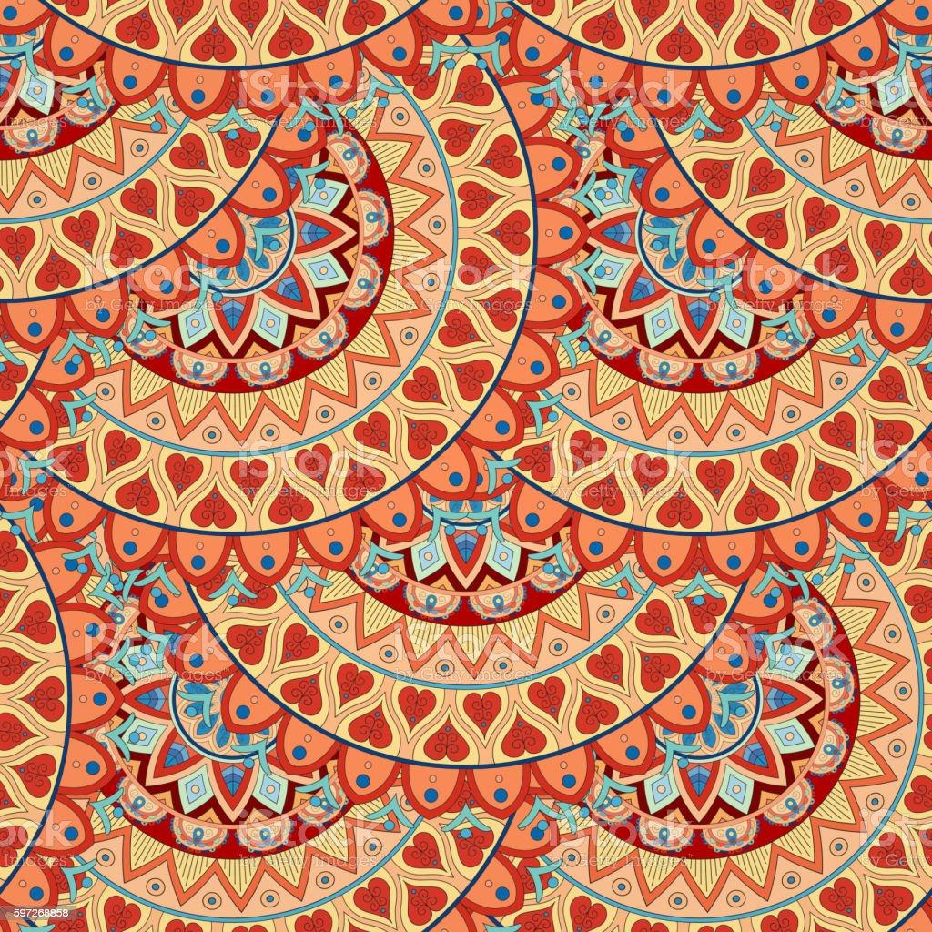 Ornate floral seamless texture, endless pattern with vintage mandala elements. Lizenzfreies ornate floral seamless texture endless pattern with vintage mandala elements stock vektor art und mehr bilder von abstrakt