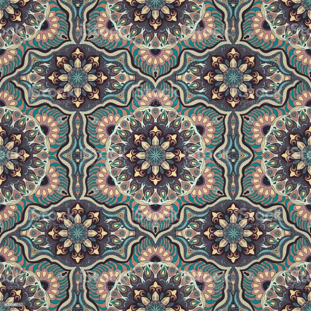 Ornate floral seamless texture, endless pattern with vintage mandala elements. vector art illustration