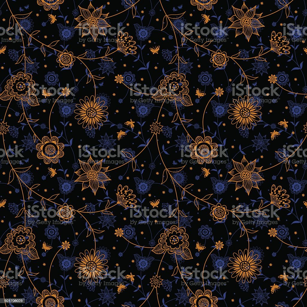 Ornate floral seamless texture in retro style. royalty-free ornate floral seamless texture in retro style stock vector art & more images of abstract