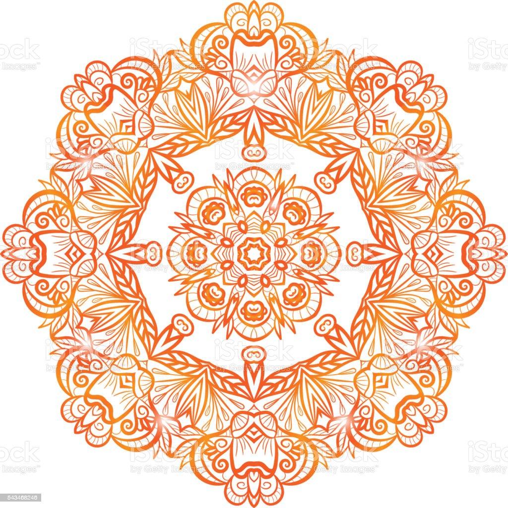 Orné De Fleurs Couleurs Henné Vecteur Mandala Vecteurs Libres De
