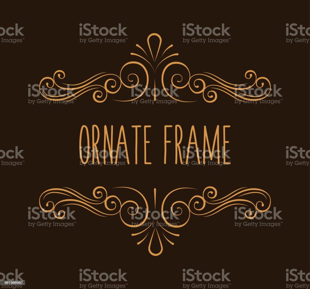 Ornate frame. Decorative page divider. Flourish pattern. Swirl. Wedding invitation, Greeting