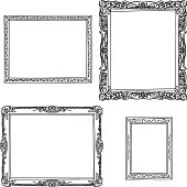 Various ornate frame in sketch style, Black and White
