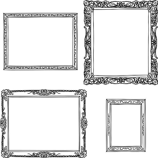 華やかなフレームのスケッチスタイル - ロココ調点のイラスト素材/クリップアート素材/マンガ素材/アイコン素材