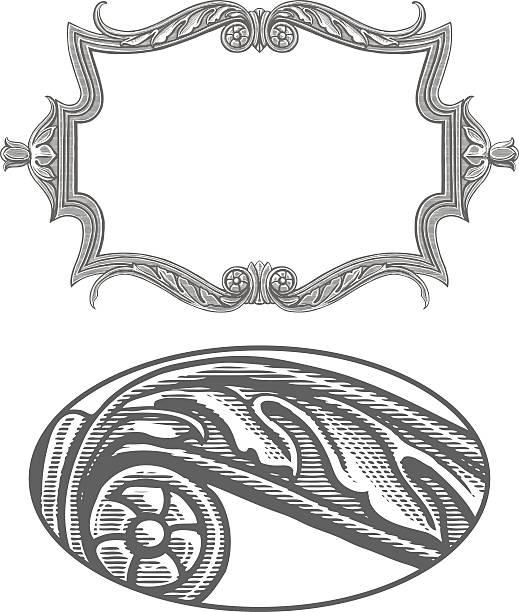 ilustrações, clipart, desenhos animados e ícones de decorada em estilo vintage moldura de aviso - molduras decorativas
