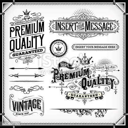 A collection of vintage styled ornate frames and banners. EPS 10 file, with transparencies, layered & grouped,