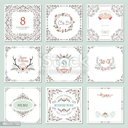 Ornate frames design and rustic wedding elements set. Flourish card templates. Vector illustration.