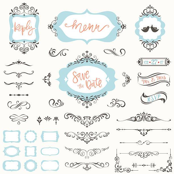 デザイナーの華やかなフレームセット - ウェディングファッション点のイラスト素材/クリップアート素材/マンガ素材/アイコン素材