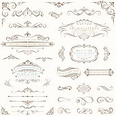 A set of vector illustrations featuring retro scroll frames on an ivory background.  This set features more than 20 different items, some with room for text and some without.  There are small vertical and horizontal scrolls, retro lines with embellishments and ornate calligraphic frames.  One of the largest illustrations has an ornate frame with room for text above and below it.  There is also a calligraphic frame with a curved banner and room for text underneath.  One of the vintage-style frames is curved, while the other has straight lines flanked by scroll elements.