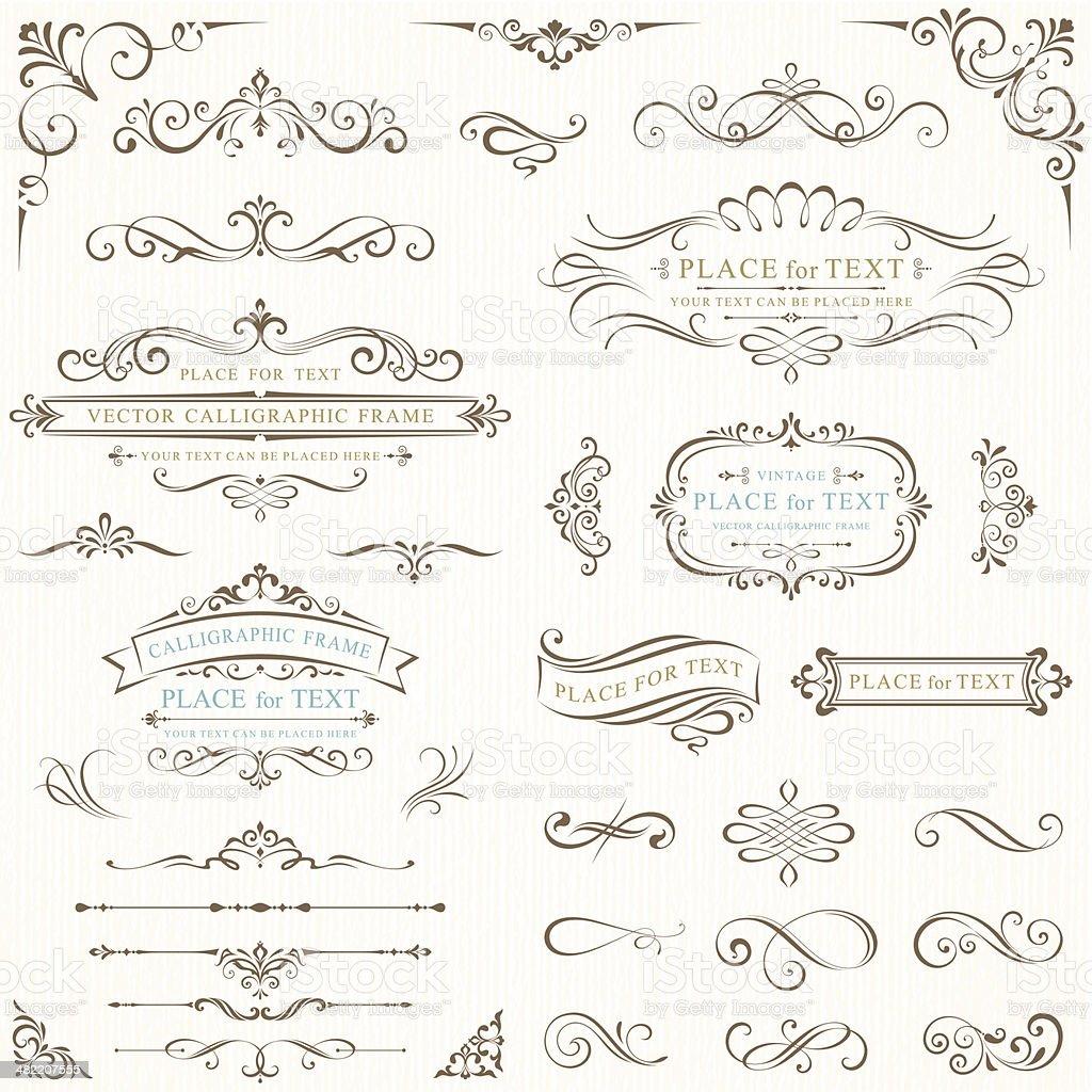Ornate frames for text vector art illustration