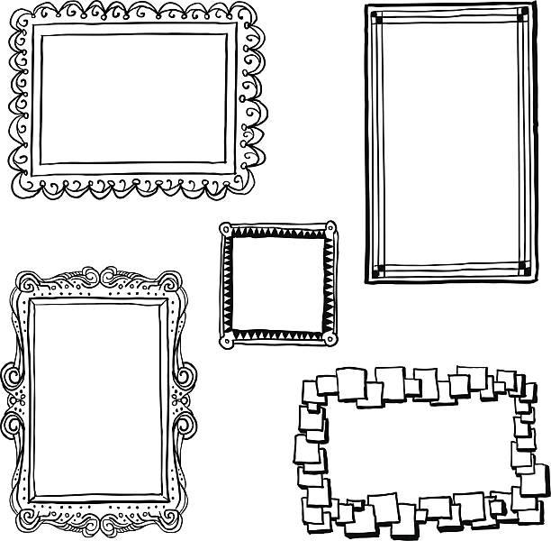 ilustraciones, imágenes clip art, dibujos animados e iconos de stock de ornate frames en estilo boceto - marcos de garabatos y dibujados a mano