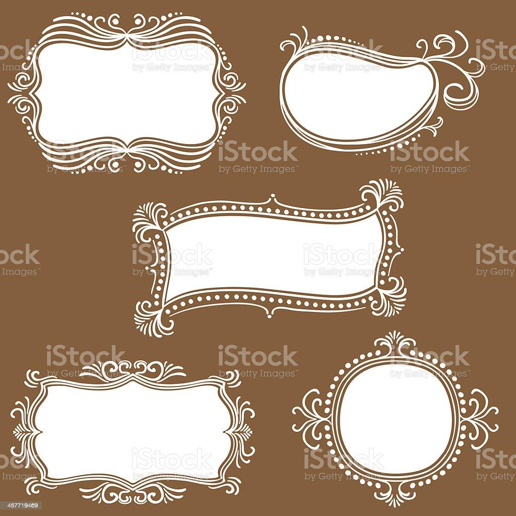 Ornate frames in white vector art illustration