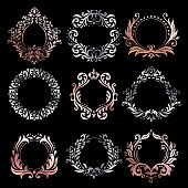 Ornate frames. Silver ornamental frame, rose gold vintage premium framing and refined ornament borders. Wedding invitation card signage, heraldic victorian insignia. Vector isolated symbols set