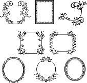 Ornate frames, black and white