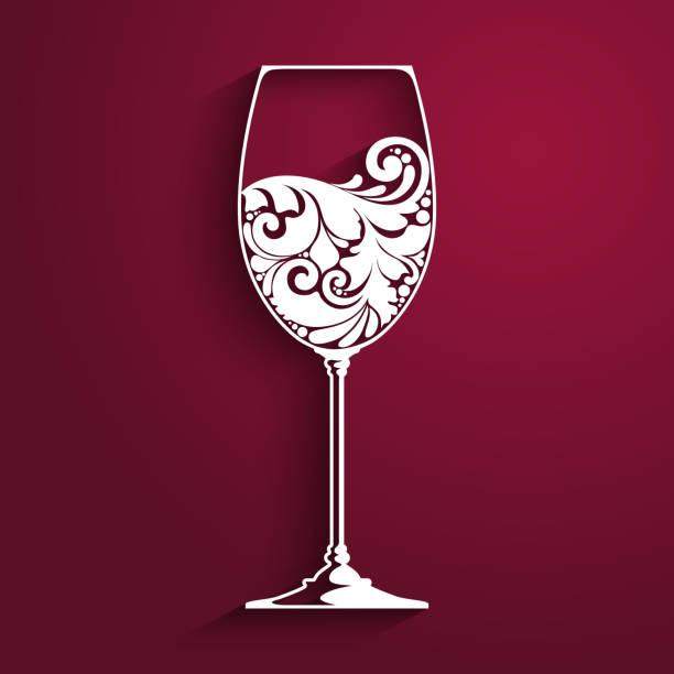 Ornate glass of wine. Vector element for wine list, menu design template. Vector illustration. Ornate glass of wine. Vector element for wine list, menu design template. Vector illustration mistery stock illustrations