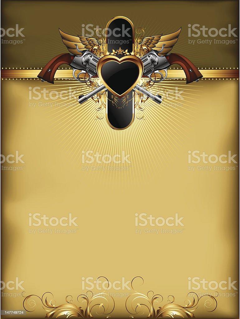 Marco Adornado De Oro Con Pistolas - Arte vectorial de stock y más ...