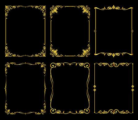 Ornate golden vector frames set over black background
