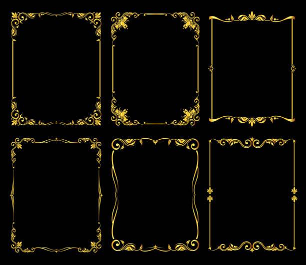 ilustraciones, imágenes clip art, dibujos animados e iconos de stock de marcos vector adornado de oro sobre fondo negro - cultura francesa