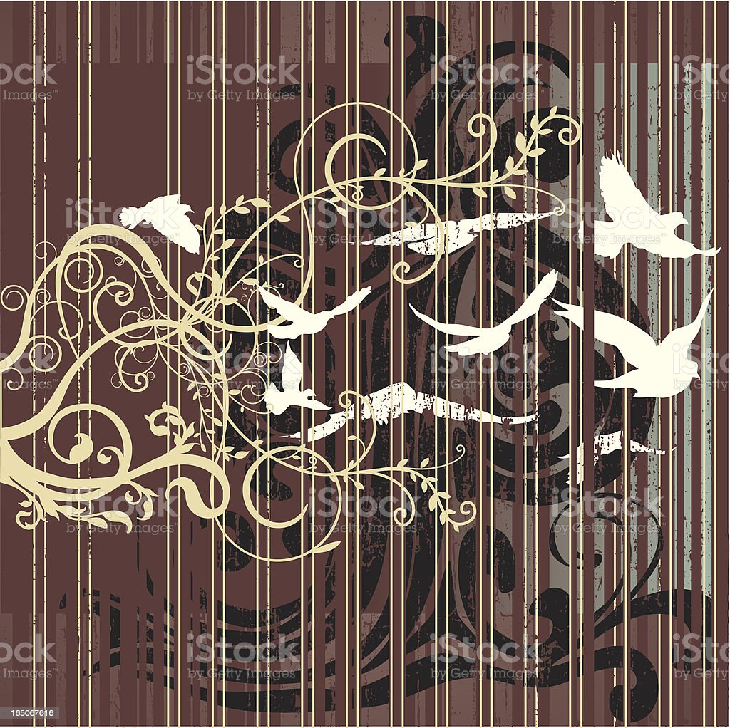 Ornate Grunge with Birds royalty-free stock vector art