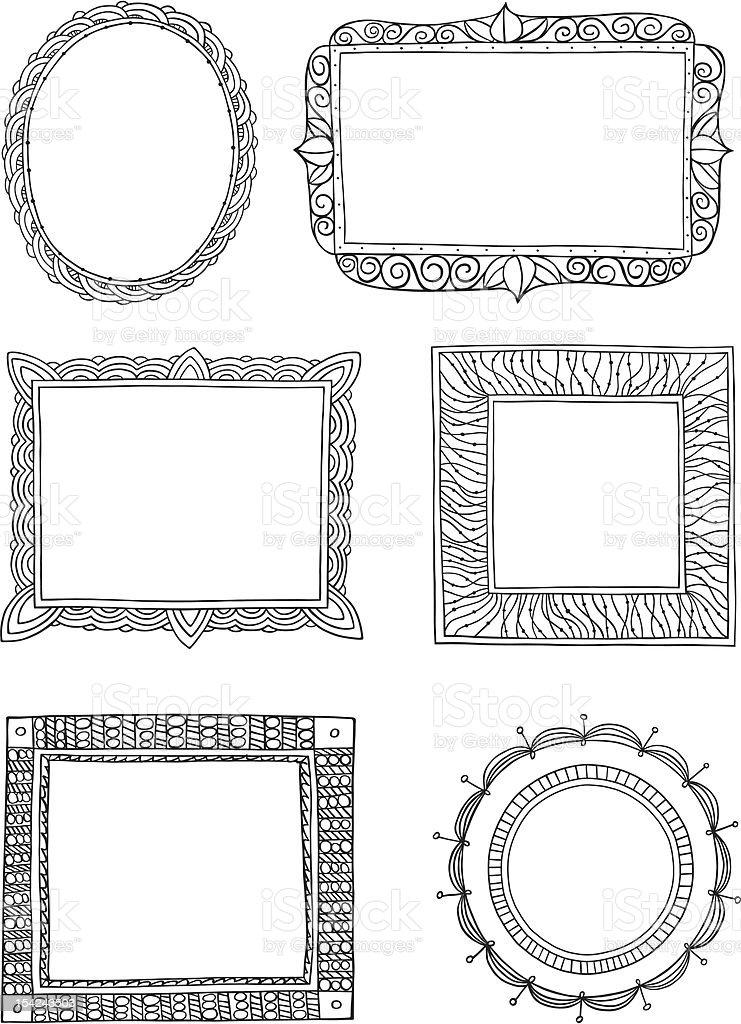 Ornate hand drawn frames three vector art illustration