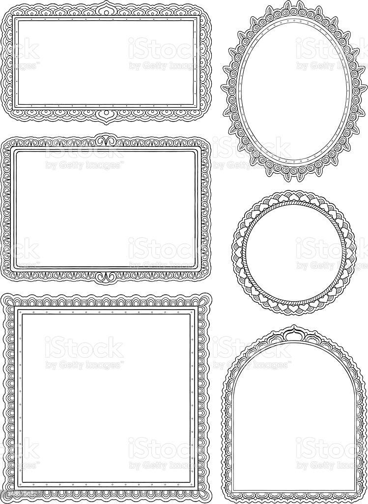 Ornate hand drawn frames two vector art illustration