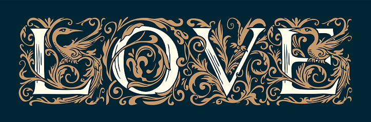 Ornate hand-drawn lettering Love in vintage style
