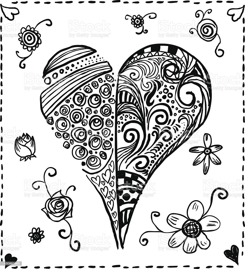 Ornate heart in black and white royalty-free stock vector art