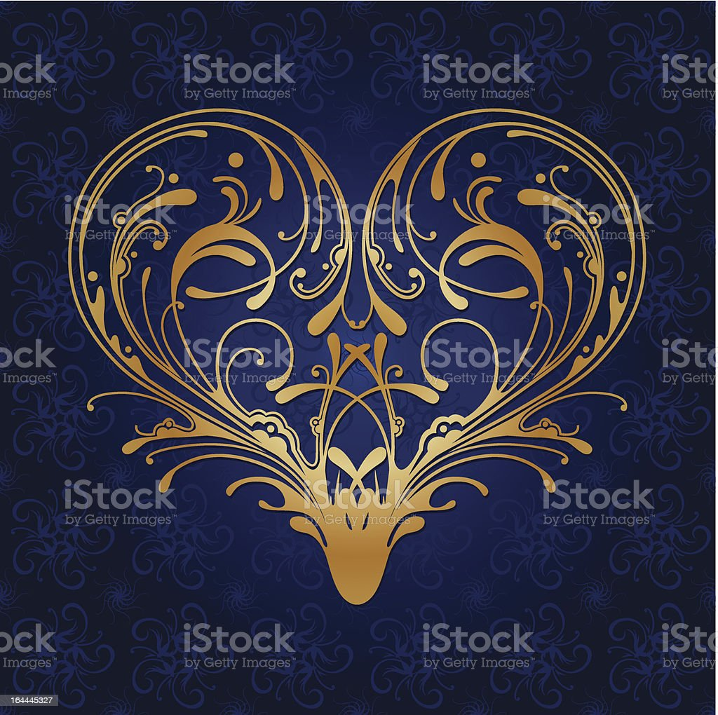 Ornate Heart vector art illustration