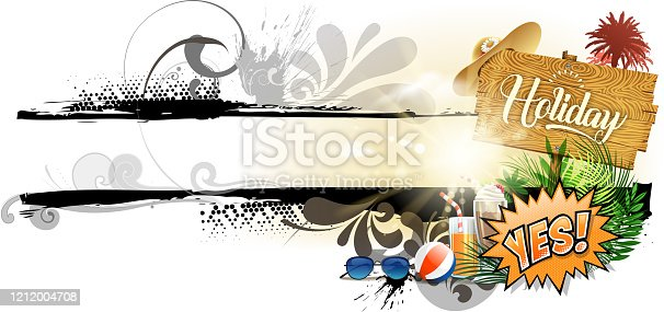 drawing of vector blank ornate holiday banner. Created by illustrator cs6. This file of transparent.