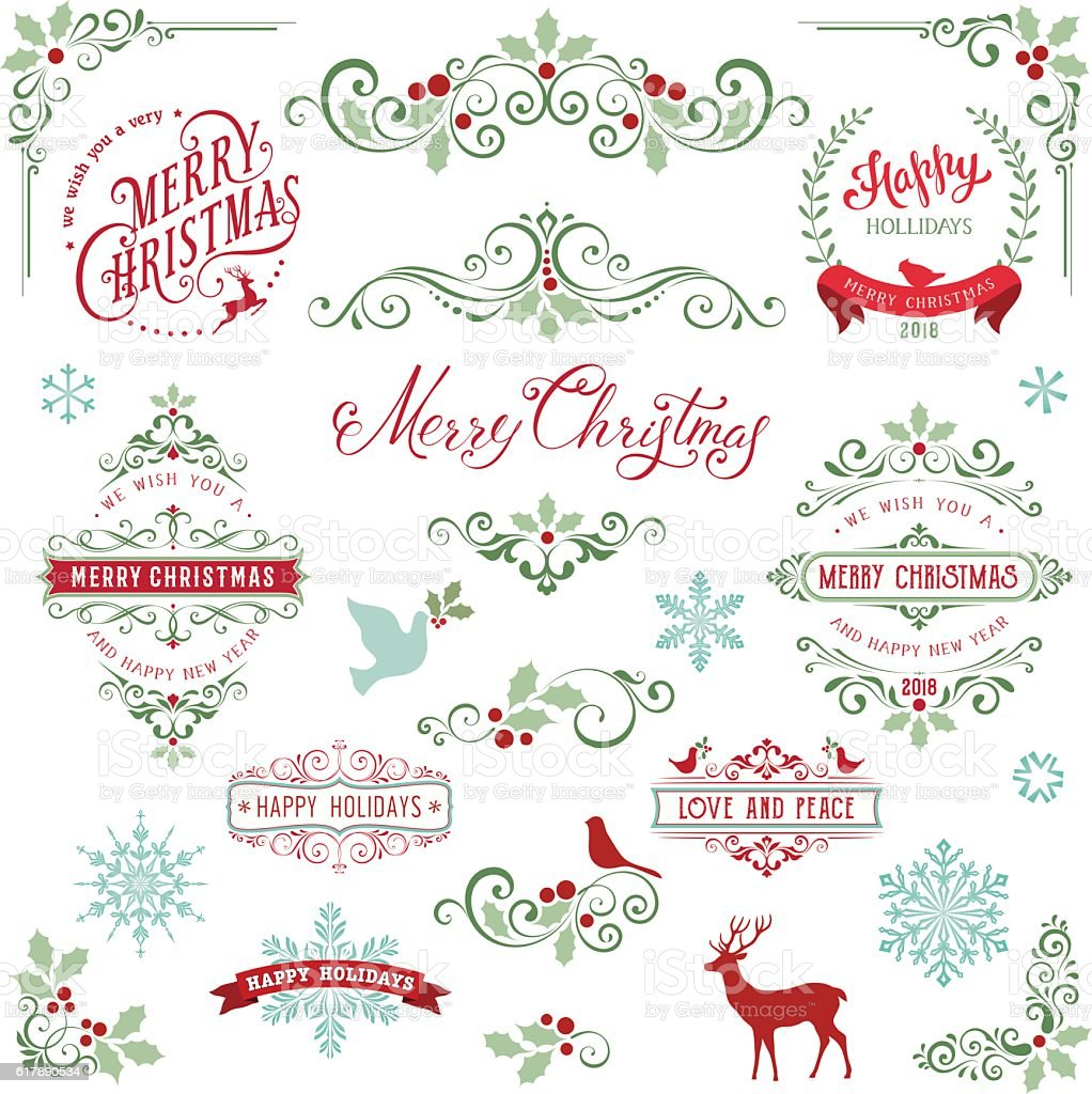 Ornate Holly Christmas Collection vector art illustration