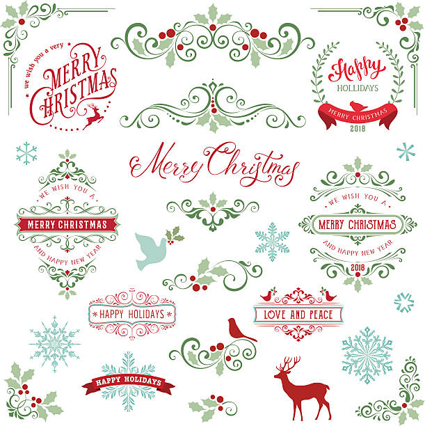 ornate holly christmas collection - christmas decorations stock illustrations
