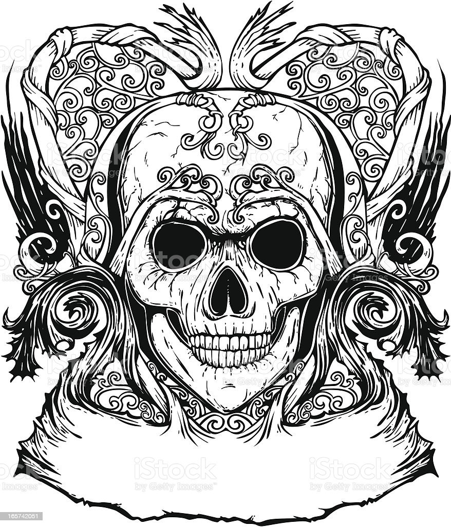 Verzierte Inked Human Skull Tattoo-Design - Lizenzfrei Alt Vektorgrafik