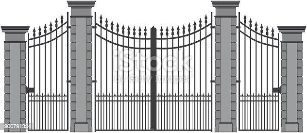 istock ornate iron gate, silouette in black and white 900791334
