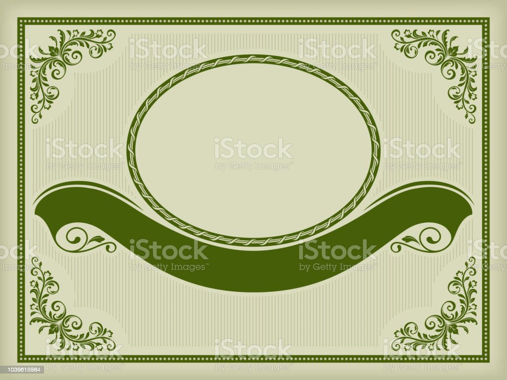 Ornate Label With A Banner Decorative Corners And Frames Dark Green