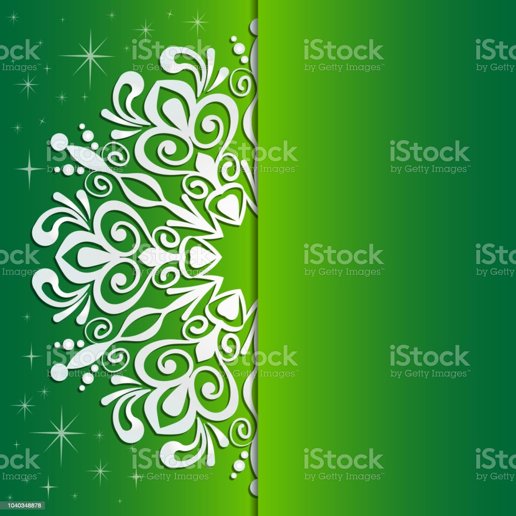 ornate lacy white snowflake on green background christmas and new year greeting card invitation
