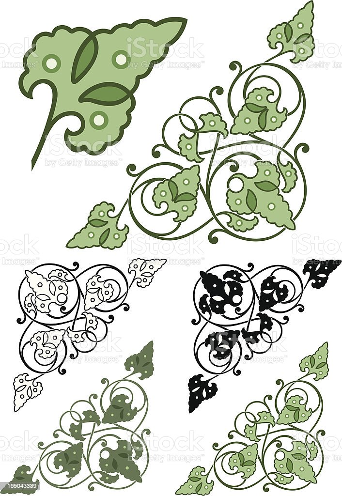 Ornate Leaf Corners vector art illustration
