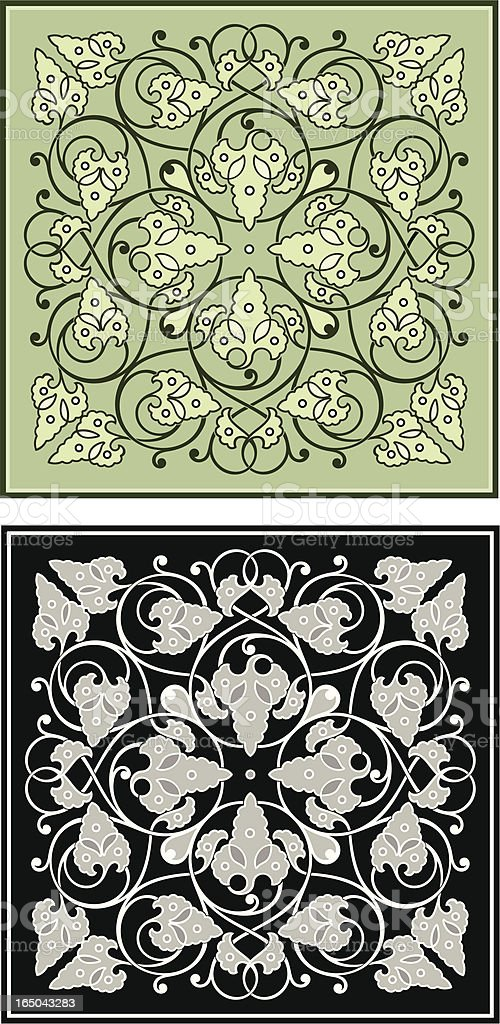 Ornate Leaf Pattern Tile royalty-free stock vector art