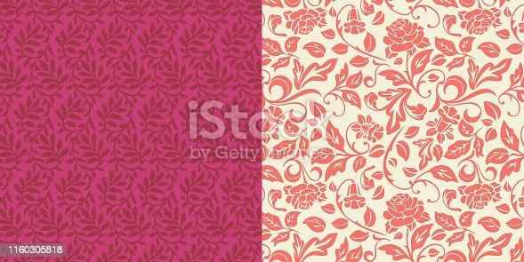 istock Ornate Leaves Rose Floral Pattern Set 1160305818