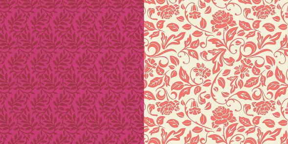 Ornate Leaves Rose Floral Pattern Set