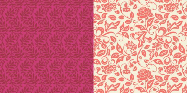 verzierte blätter rose floral muster set - tapete stock-grafiken, -clipart, -cartoons und -symbole