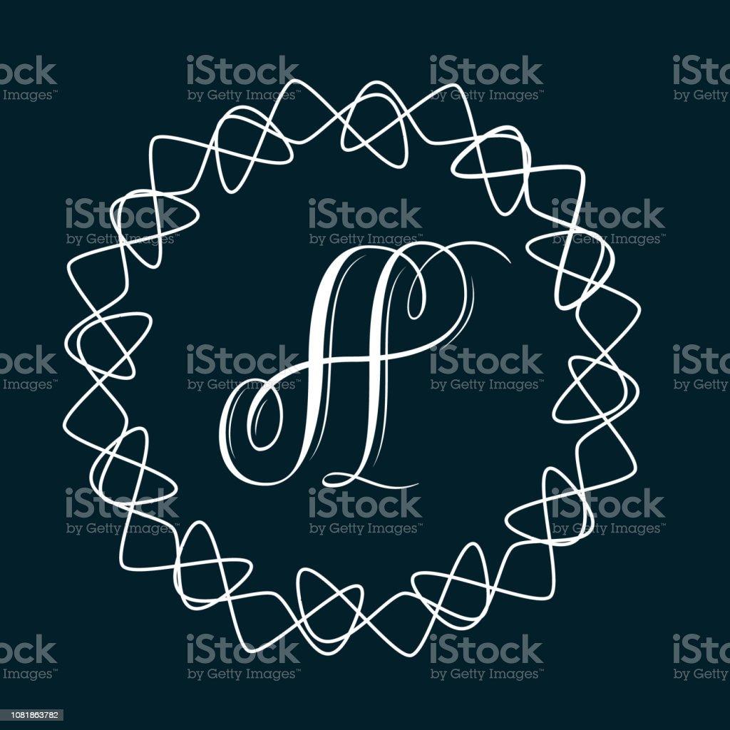 Ornate letter A - hand lettering calligraphy monogram design vector art illustration
