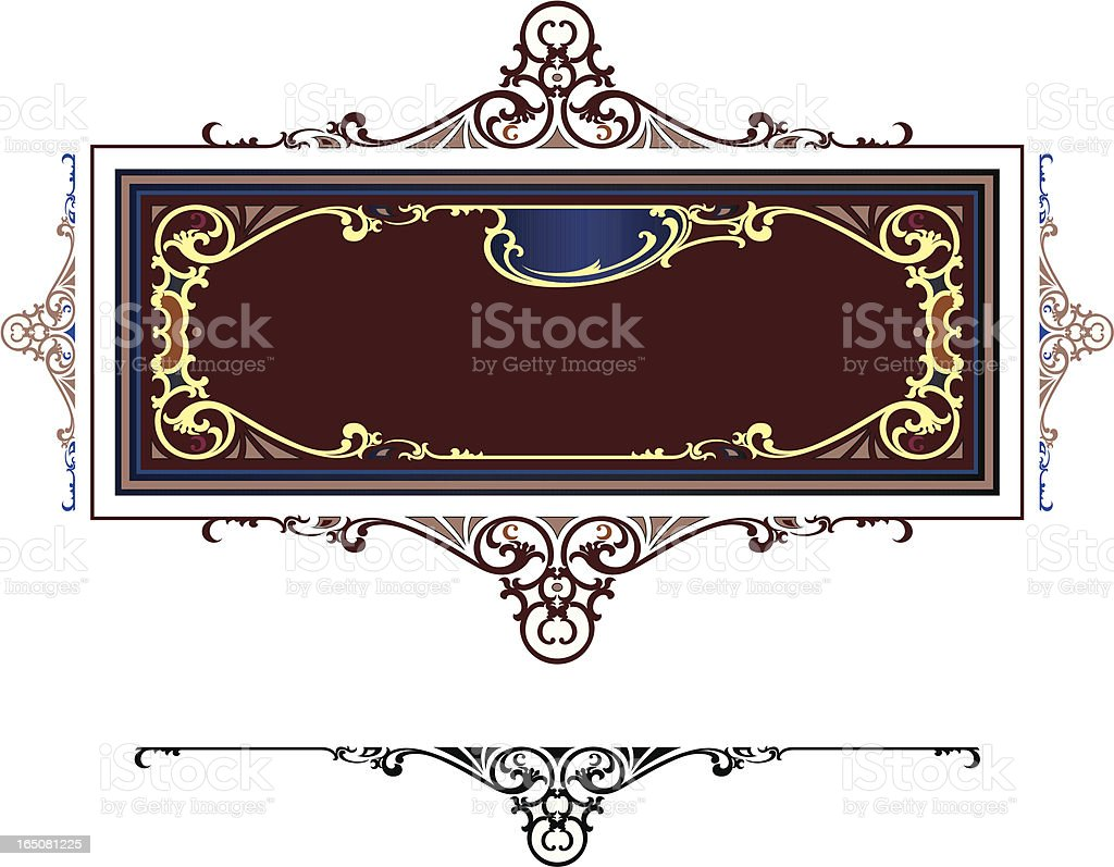 Ornate Lettering Panel vector art illustration