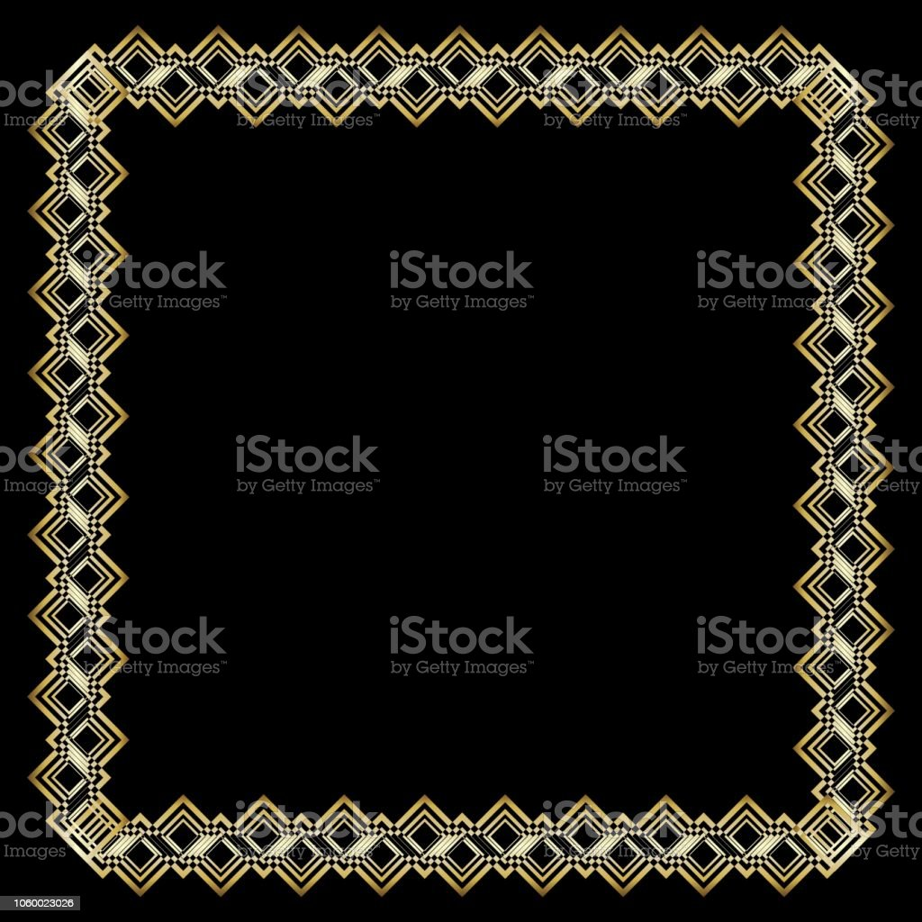 Ornate Luxurious Golden Frame In Art Deco Style On Black Background