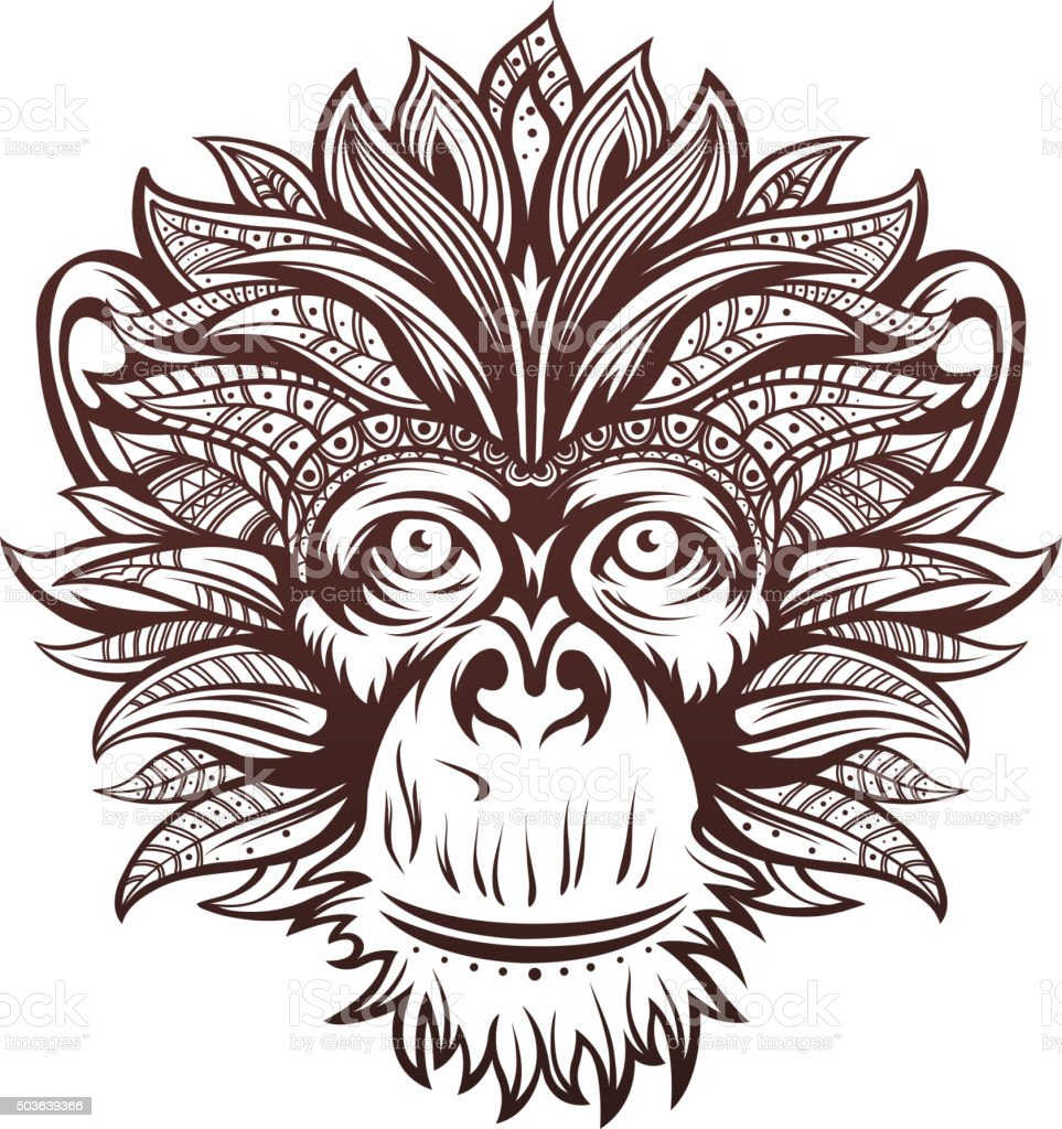 Ornate Monkey Head vector art illustration