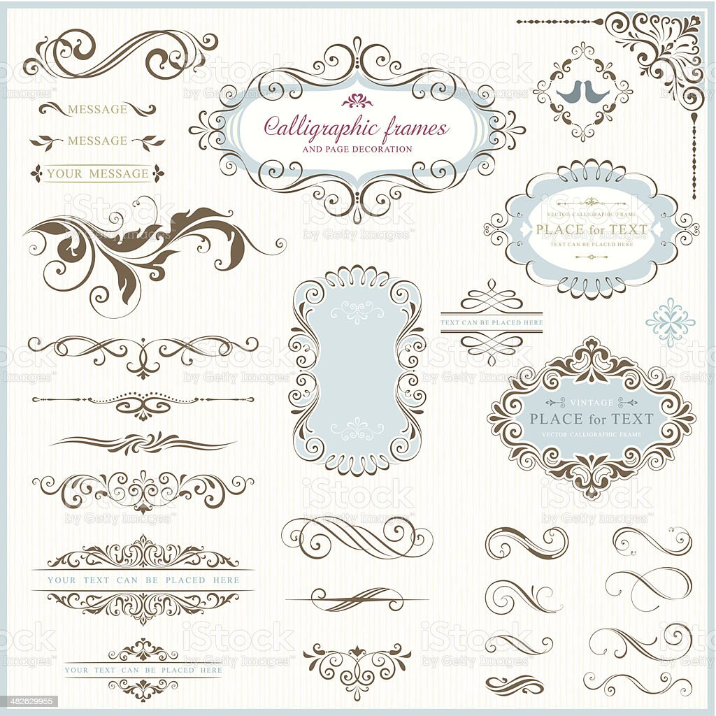 Ornate motifs and calligraphic design elements vector art illustration