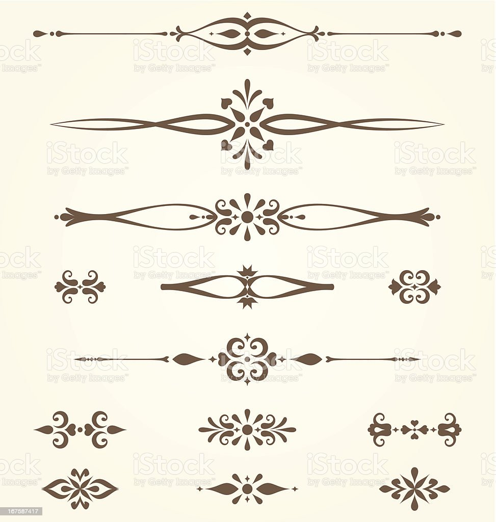 Ornate Motifs Set on brown and cream royalty-free stock vector art
