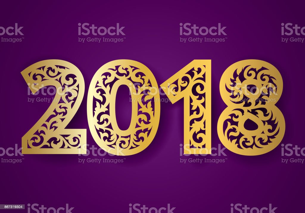 Ornate New 2018 Year Numbers For Laser Cutting With Pattern Of