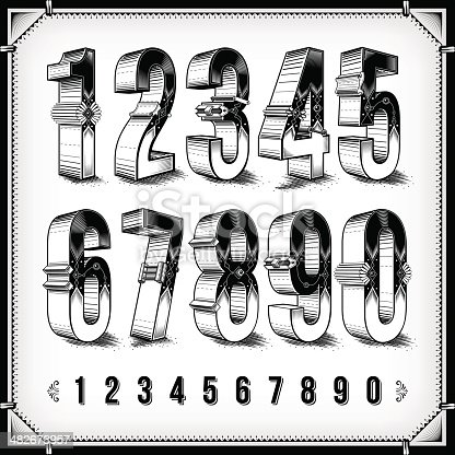 A collection of intricately designed numerals. EPS 8 file, without transparencies, layered & grouped,
