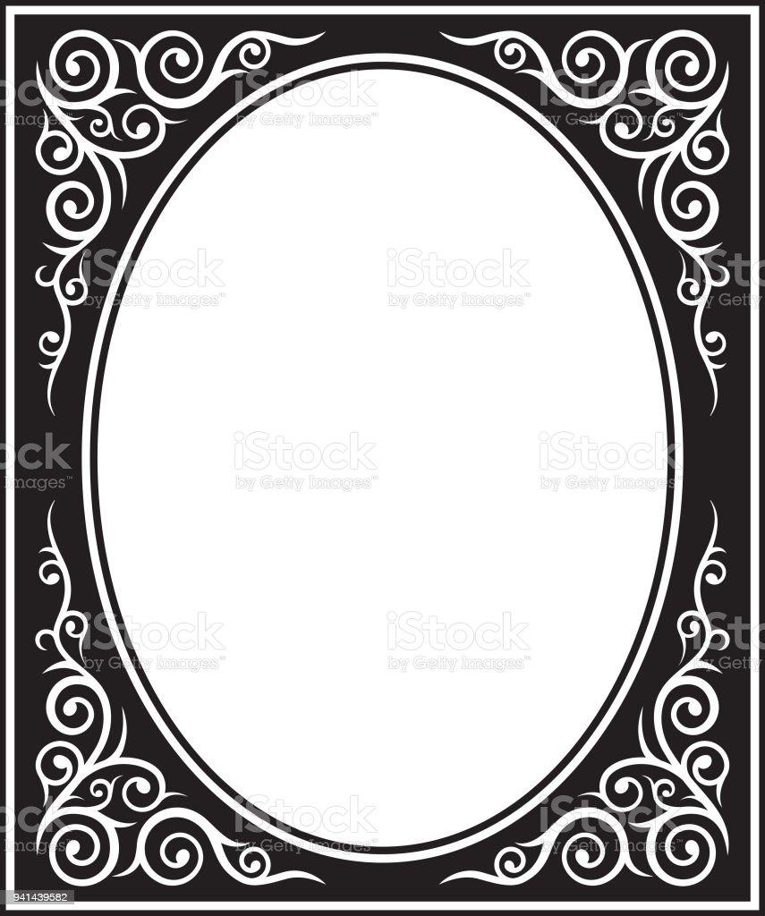 Verzierten Ovalen Schwarzen Und Weißen Rahmen Kasachen Und Kirgisen ...